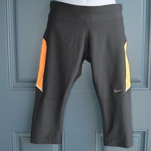 Grey/Yellow Nike Dri-Fit Cropped Running Leggings